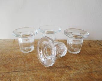 4 vintage french glass inkwells, Inkwell, Paris, Encrier en verre, Collection, Desk Office, Bureau écolier, Antique home decor, 1930