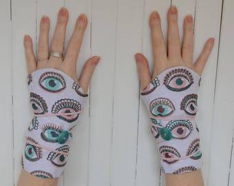 Original cuffs, Wrist warmers, arm warmers, eye patterns, made in paris