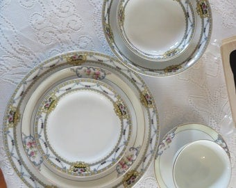 Mismatched Fine China Service for Four - Wedding Gift, Something Old, Something Special