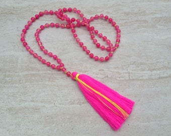 Hot Pink Agate Tassel Necklace Pink Tassle Necklace Hand Knotted Beaded Tassel Necklace Pink Agate Beads Long Tassle Tiered Necklace