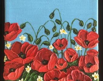 Crimson Blooms - Oil Painting - Original Art by Trupti Vakharia - Heavy Textured Palette Knife Impasto Art