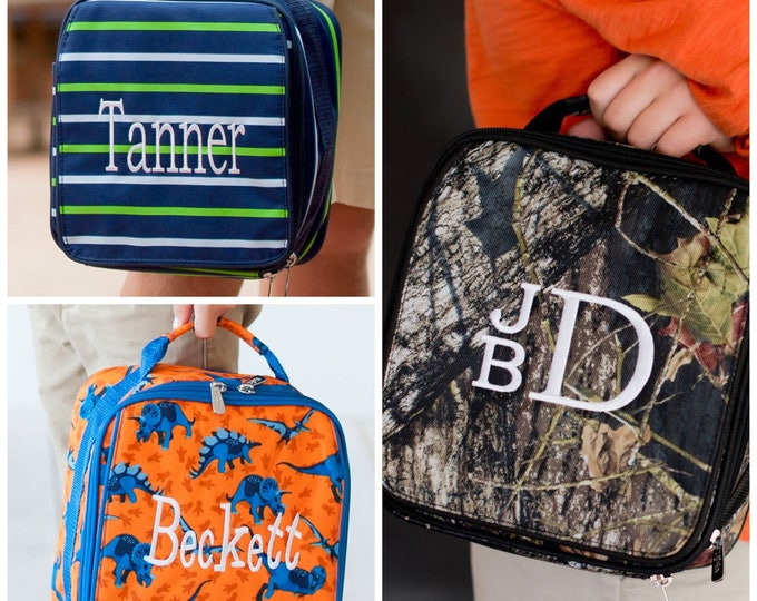 Monogrammed Lunch Box, Back to School, Lunch Bag, Girls Lunch box, Boys Lunch Box, Kids Lunch Box, Preppy lunch box, Monogram Lunchbox