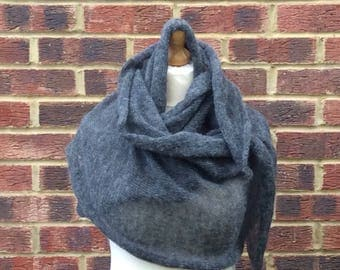 Grey  Mohair Knit Oversized Scarf, Winter Wedding Shawl, Extra Large mohair wrap shawl, Grey Mohair Bridal shawl Mother of the Bride Gift