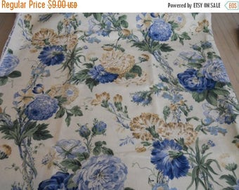 CIJ2017 Kaufman Fabric,Large Floral Print, Shades of Blue, Green, Biege, Yardage
