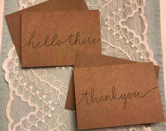 Set of 10 hand lettered cards