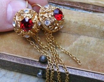 1stDayofSummerSALE Red Renaissance Bridal Earrings Fairytale Wedding Etruscan Goddess
