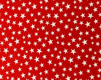 White Stars on Red - Patriotic Prints - Cotton Fabric - Galaxy -  PAT-02