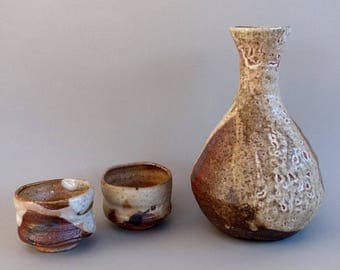 Wood fired Shino glazed Sake Bottle and 2 cups