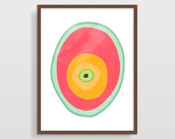 Abstract Art Print, Kitchen Decor, Mid Century Modern, Large Wall Art, Kitchen Wall Art, Abstract Watercolor Print, Modern Wall Art