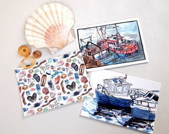 seaside postcard prints pack of 3
