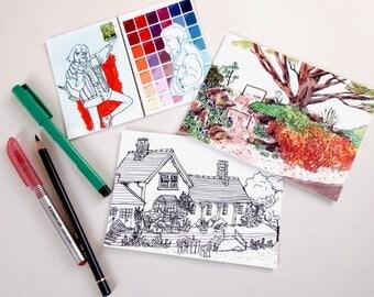 sketchbook postcard prints pack of 3