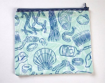 blue beachcombing large pencil case | zip pouch