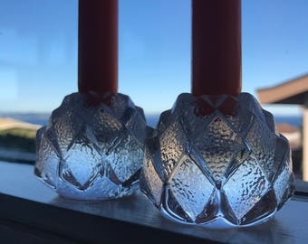 Two gorgeous Nimbus crystal votive candle holders.  These are the smaller version - Berit Johansson design.  Orrefor.