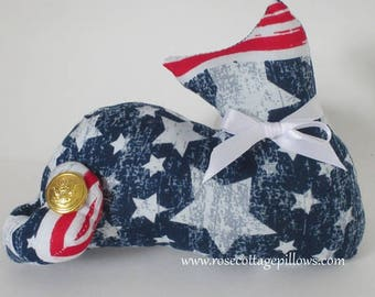 JULY PROMO Special, Patriotic Cat Doll, Star Pillow, Military Style Cat Shelf Sitter, Pillow Tuck, Red, White and Blue Cat Shape Pillow