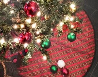 Dupioni Christmas Tree Skirt Plaid Holiday Decoration 54