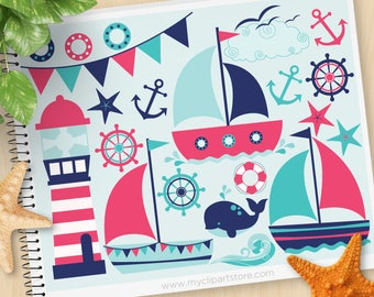 Sailing Away Girl Clipart, Nautical, , sailboat, bunting, lighthouse, anchor, Commercial Use, Vector clip art, SVG Cut Files