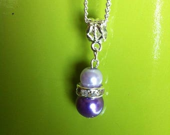 Silver Pendant chain necklace purple and purple beads