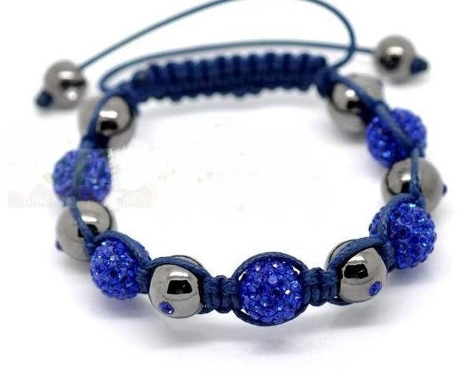 Bracelet adjustable Shamballa beads Hematite and blue rhinestones