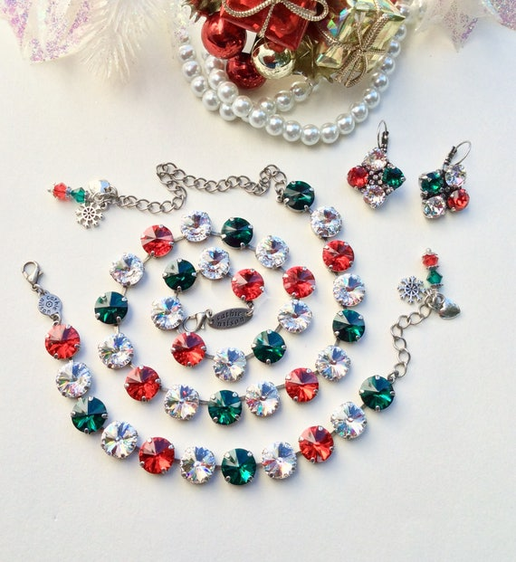 "Swarovski Crystal 12MM Necklace Set - ""Christmas Bells"" - Gorgeous Colors -  Red, Clear, & Emerald Green - Designer Inspired - FREE SHIPPING"