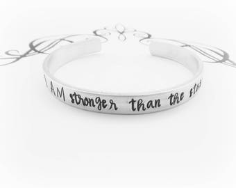 I AM stronger than the storm - Hand Stamped Inspirational Bracelet - Self Empowerment - Encouragement - Motivational Jewelry - kg36369