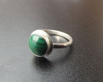 sterling silver 10mm malachite gemstone ring