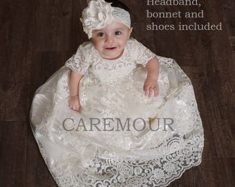 Lace Christening Gown - Christening Gown, Baptism Gown, Baptism dress for baby girl, christening gown girl, baptism dress
