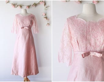 Pastel Pink Lace Maxi Gown - Sequin and Beaded Vintage Formal Gown - Chantilly Lace 3/4 Sleeve Maxi Dress - Size Medium
