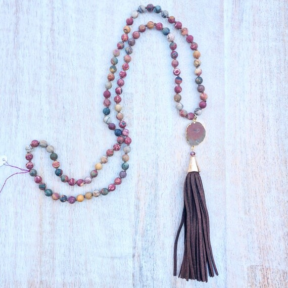 Long Colorful Jasper Knotted with Turquoise pendant Brown Sueded Tassel necklace
