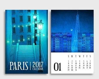30% OFF SALE: 2017 Paris Calendar - Paris Illustration Desk calendar Wall calendar Art Gift ideas for her Mini Calendar Paris art Home decor