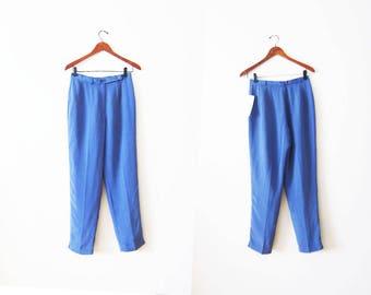 Silk Pants / Vintage Silk Trouser Pant / High Waisted Pants / 90s Pants / Deadstock / Violet Blue Purple Pants / Pants Small / 90s pants 28