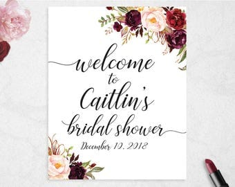 Bridal Shower Welcome Sign // Customised  // Printable // Bridal Shower // Welcome Sign // Marsala // Burgundy // #PBP97