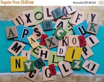 ON SALE 25% OFF 2 Dozen Assorted Vintage and Antique Anagram Letter Tiles