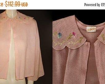 SALE Vintage Saks Fifth Avenue Embroidered Sparkling Rhinestone Sweater Bed Jacket designer bed jacket pink bed jacket rhinestone bed jacket