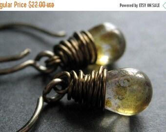 SUMMER SALE BRONZE Earrings - Mottled Brown Teardrop Earrings with Glass Teardrops, Wire Wrapped Earrings. Handmade Jewelry.