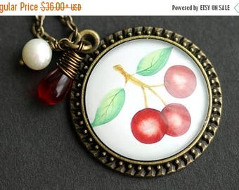 BACK to SCHOOL SALE Red Cherry Necklace. Cherry Pendant with Red Teardrop and White Pearl. Cherries Necklace. Bunch of Cherries Pendant. Bro