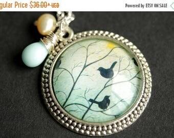 VALENTINE SALE Aqua Blue Bird Necklace. Bird Pendant with Pale Yellow Fresh Water Pearl and Light Aqua Teardrop. Aqua Blue Necklace. Handmad