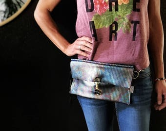 Leather Ranbow Scale Mermaid Hip Bag and Purse