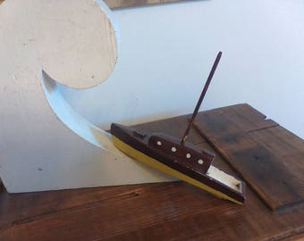 Handmade Toy Boat , Sailboat , Nautical Decor , Sailing , Wooden Sailboat