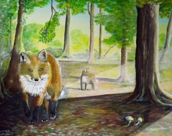 Foxlight Original Acrylic Painting on Canvas by Dave smith