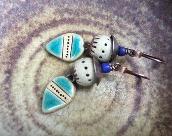 Rustic Bohemian Ceramic earrings n.350 - natural color ceramic . glazed ceramic earrings . artisan jewelry . blue ceramic . handmade in blue