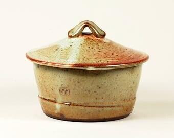 Lidded shino-glazed kitchen bowl