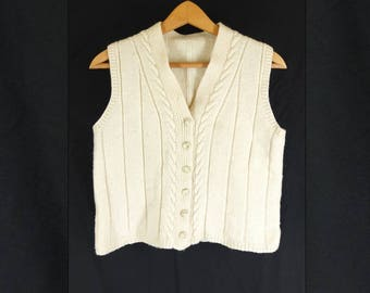 Vintage 1990s Cream Cable Knit  Cardigan Vest Waistcoat Knitted Tank Top - Size 12UK