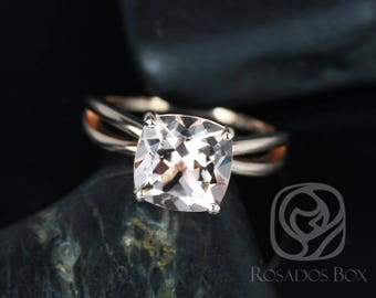 Rosados Box Lacy 9mm 14kt Rose Gold Cushion Morganite Infinity Split Shank Solitaire Engagement Ring