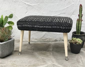 Mudcloth Footstool, Black and White African Mud cloth Fabric | Bohemian Home Decor Upholstered Ottoman Mudcloth Home Decor Mudcloth Textile