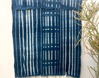 Vintage African Textile   African indigo blanket Indigo Textile Indigo Mudcloth African Mudcloth Indigo Cloth Beach Blanket tribal fabric 07