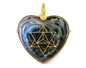 Cosmos/Nebula/Galaxy with 22k Star Tetrahedron and mineral sparkle (Glows in the Dark) - Orgone Pendant