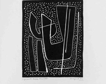 Alberto Magnelli-Untitled I (Fond Noir)-1970 Linocut-SIGNED