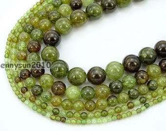 Natural Tsavorite Gemstone Round Spacer Loose Beads 15'' 4mm 5mm 8mm 10mm 12mm for Jewelry Making Crafts