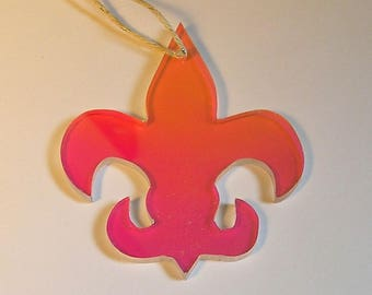 Fleur de Lis cutout, made from rediant acrylite, ornament