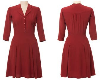 Balboa Dress, 1940s style, vintage inspired collar, 3/4 sleeves, red brick color.